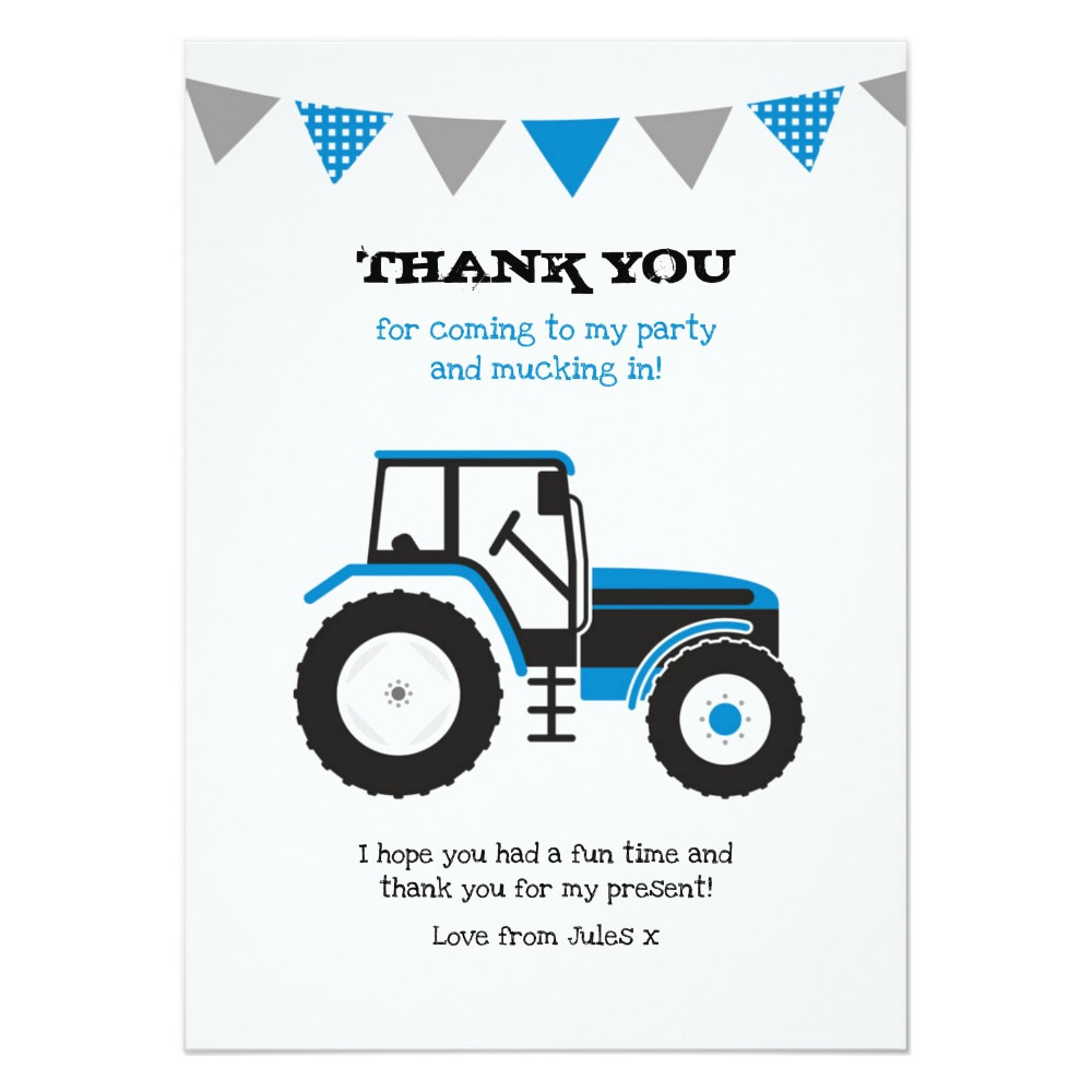 Blue Tractor Birthday Thank You Note Card ~ Jelly Confetti